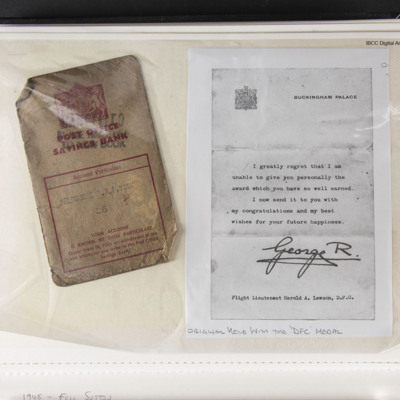 Post Office Savings Book and letter from the King