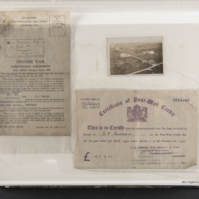 Income Tax Assessment, Certificate of Post War Credit and aerial photo of a camp