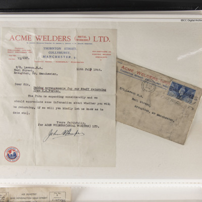Letter to Homer Lawson from Acme Welders
