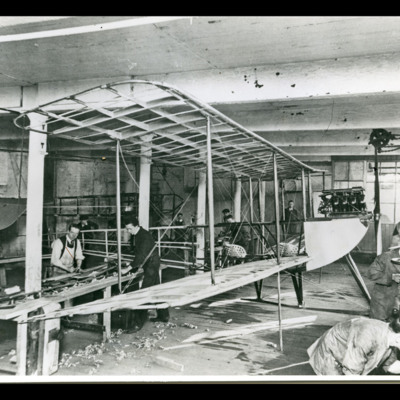 Part constructed aircraft in workshop