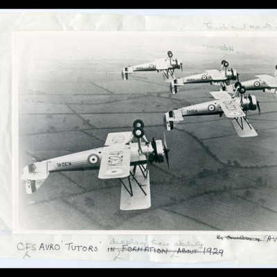 Five Avro Tutors inverted in formation