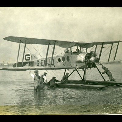 Avro seaplane on shoreline