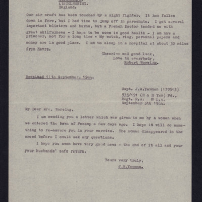 Letter from Robert Wareing to his wife Joan passed on by Captain J M Yeoman,