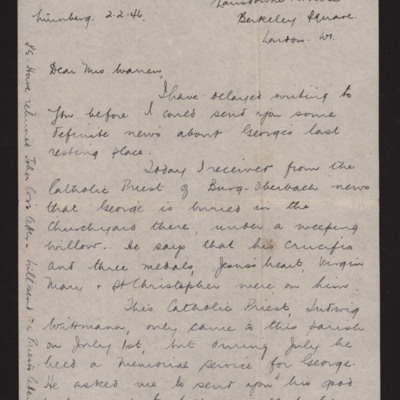 Letter to Mrs Warren from Mary Carter
