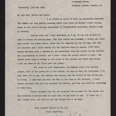 Letter to Mrs Warren and Beryl from Mary Carter