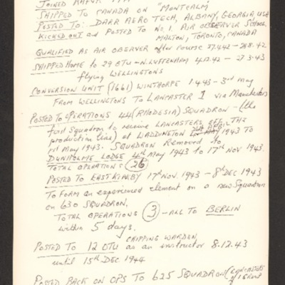 Des Hawkins' service history and list of operations