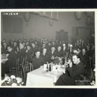 Large group of airmen at formal dinner