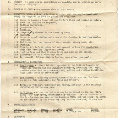 No 1 Canadian transit camp information sheet