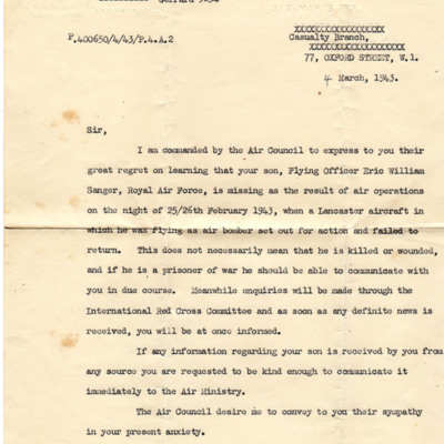 Letter to Eric Sanger's father