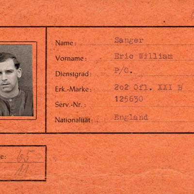 Eric Sanger prisoner of war card