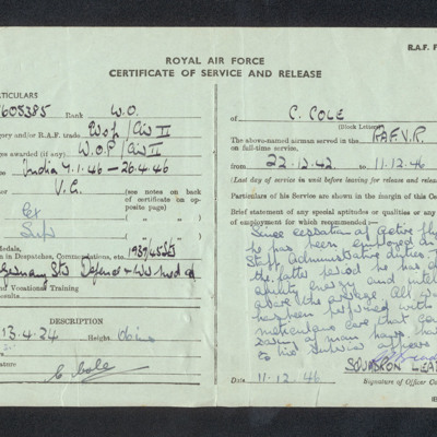 Royal Air Force Certificate of Service and Release