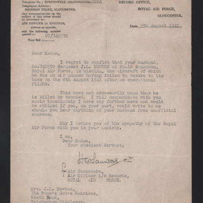 Letter to Jack Newton's wife