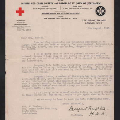 Letter to Jack Newton's wife from the Red Cross