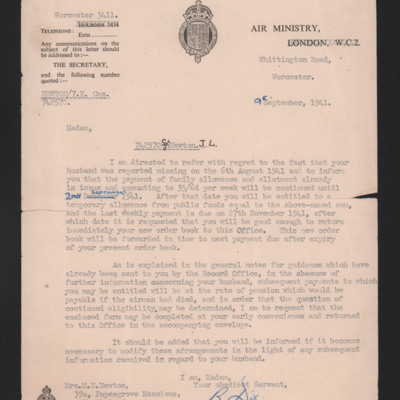 Letter to Jack Newton's wife from the air ministry