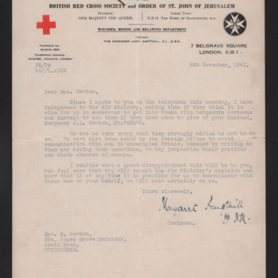Letter to Jack Newton's wife from Red Cross