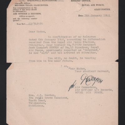 Letter to Jack Newton's wife from RAF records office