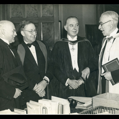 Chancellor of Manchester University, Sir John Stopford, Professor (Sir) John Cockcroft, Roy Chadwick CBE and Sir Harold Hartley