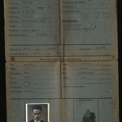 Bill Brooks' prisoner of war identity cards