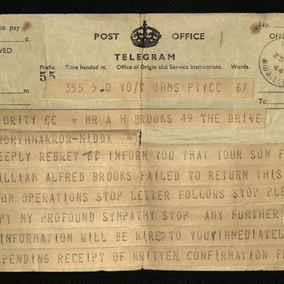 Condolence telegram from squadron