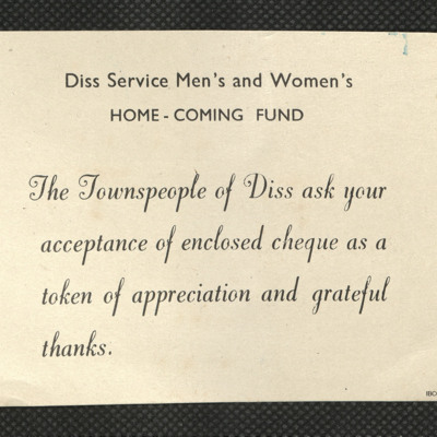Diss Service Men's and Women's Home Coming Fund