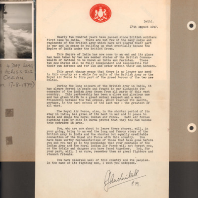 Letter from Claude Auchinleck to British forces serving in India