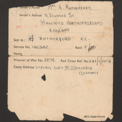 Les Rutherford's prisoner of war parcel inventory