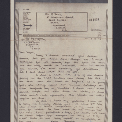 Letter from Daniel Phillips to Myra Price