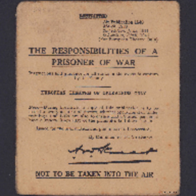 Responsibilities of a prisoner of war - European theatre of operations