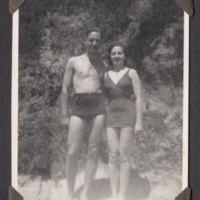 Arthur Atkins with Betty on beach