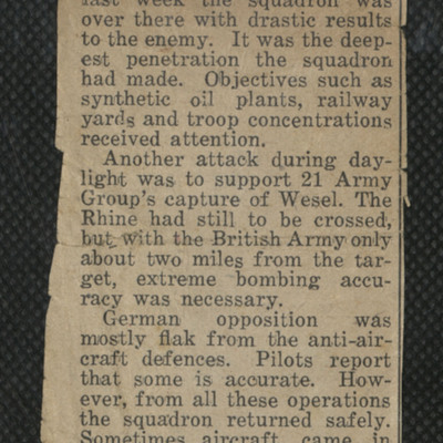 Newspaper article on Bomber Command operations