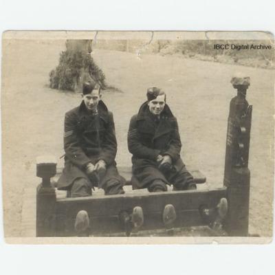 Two airmen in stocks