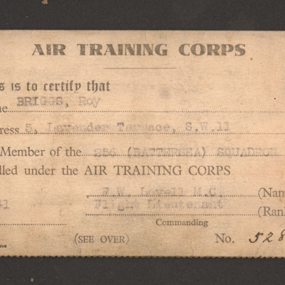 Air Training Corps Membership Card