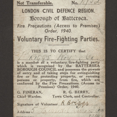 Voluntary Fire-Fighting Parties membership card