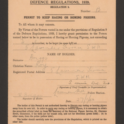Permit to keep racing or homing pigeons