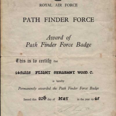 Flight Sergeant Colin Wood's Award of Path Finder Force Badge