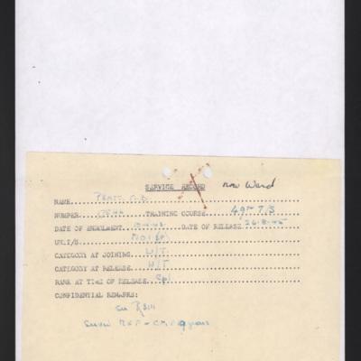 Margaret Pratt (now Ward) service record