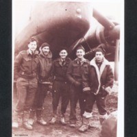 Five aircrew in front of a Wellington