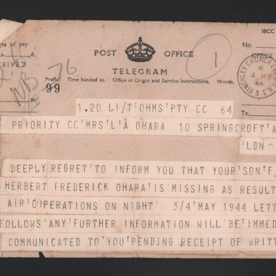 Telegram from the Air Ministry to Herbert O'Hara's mother