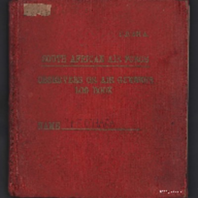 Herbert O'Hara's South African Air Force observers or air gunners log book