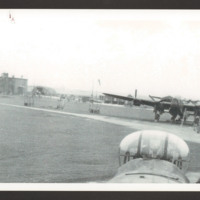 Airfield with two Lancasters