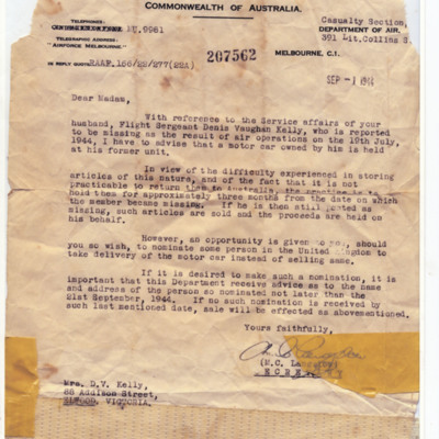 Letter to Dennis Kelly's wife from casualty section department of air