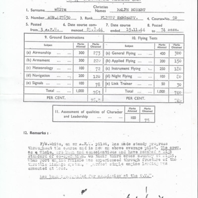 Ralph White Training Report
