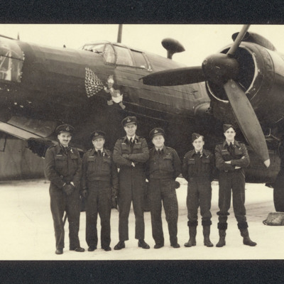 Six aircrew in front of a Wellington