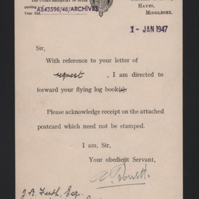 Letter to John Firth from the Air Ministry
