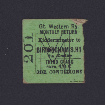 GWR Railway Ticket