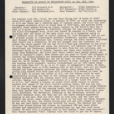 Narrative of attack by Wellington E/621 on 2nd May 1944