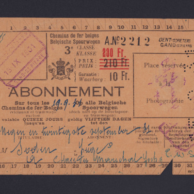 Belgian railway ticket