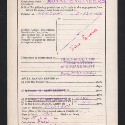 Peter Hattersley's discharge from the Royal Engineers