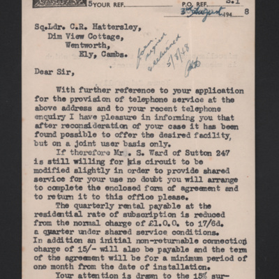 Letter from Post Office Telephones to Peter Hattersley