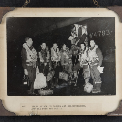 Seven airmen at the rear door of Lancaster W4783